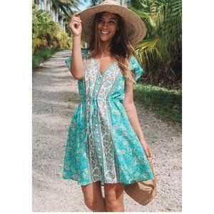 Boho chic gypsy floral print mini dress